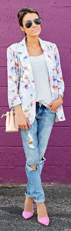 Floral Blazer Outfit Idea by Hello Fashion