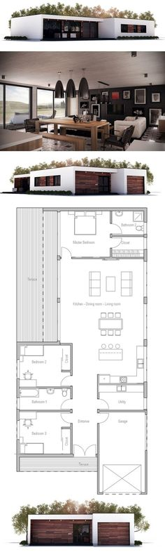 Interesting layout. Surprise bedroom at the back. Utility room in the front.Narrow House Plan, New Home, Minimalist House Design: