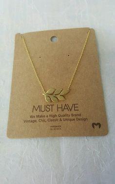 Chic Leaf Theme Thin Chain Gold Color Necklace | BlackCherryAccessories
