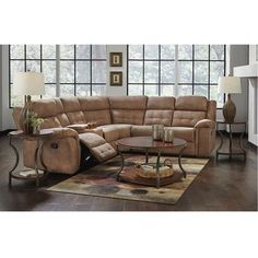 3 Piece Cobalt Reclining Sectional Living Room Collection In 2020