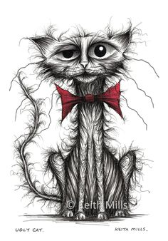 Ugly cat Print download Nasty horrid awful pet kitty puss moggie with scruffy thin tail and tatty bow tie Animal ink sketch image drawing by KeithMills on Etsy
