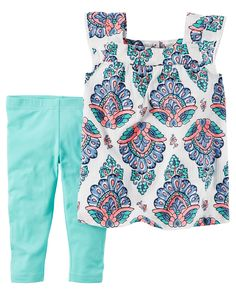 Baby Girl 2-Piece Paisley Tank & Capri Legging Set Featuring a paisley printed tank and capri leggings, this warm weather combo has her dressed in a breeze.