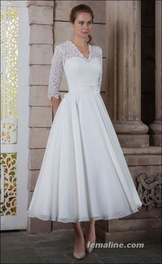 111 elegant tea length wedding dresses vintage (110)
