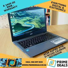 Acer Aspire Notebook  14 Inch Screen Intel Celeron N3350 Processor 2 GB RAM Windows 10 Home 64-bit Edition Operating System 9 hours Battery Life Obsidian Black1366 x 768 Resolution 1 year warranty.  Get IT @ www.primedeals.co.za or Call: 065 897 8133