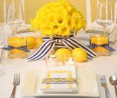 lemon centerpiece, yellow wedding, navy wedding