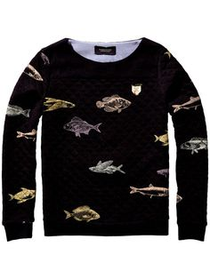 Decorated with the depths of the ocean, this fish print sweatshirt from Maison Scotch is the perfect way to add some character to your knitwear collection. Couture Outfits, Fish Print, Embellished Top, Pullover, Printed Sweatshirts, Black Tops, Long Sleeve Tops, Knitwear, Cool Outfits