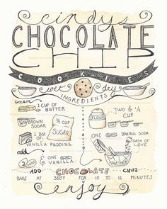 Chocolate Chip Cookie Recipe Illustration 8x10 by IrishShells