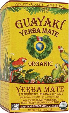 Yerba Mate: spearmintiness, no bitterness, tasty...about 1/4 the amount of caffeine as coffee...