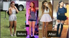Ariana Grande - Before and after going vegan. One year and her thighs disappeared.