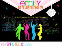 Hip Hop Dance Birthday Party Invitation or by PinkPickleStudios
