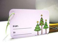 Christmas Tree Tags  Christmas Tags  Set of 10 by pinkdotsetc, €3.50