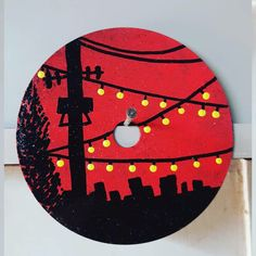 Simple Canvas Paintings, Small Canvas Art, Mini Canvas Art, Cd Wall Art, Cd Art, Vinyl Record Art, Vinyl Art, Trippy Painting, Painting & Drawing