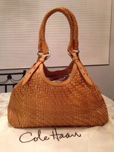 Cole Haan Genevieve Woven Leather Weave Hobo Tote Shoulder Hand Bag Purse EUC! #ColeHaan #TotesShoppers GORGEOUS!!! EXCELLENT CONDITION!!! BEAUTIFUL CAMEL BROWN / GOLDEN TAN WOVEN LEATHER BAG!!! SALE!!! WOW!!!