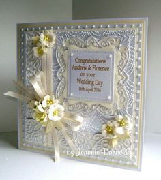 Use of square filigree boarders use of different colour Hand Made Greeting Cards, Making Greeting Cards, Greeting Cards Handmade, Wedding Cards Handmade, Spellbinders Cards, Engagement Cards, Embossed Cards, Wedding Anniversary Cards, Marianne Design