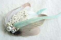 VERONICA Feather Bridal Fascinator in Mint, Mauve & Grey with Vintage Lace, Rhinestones and Pearls