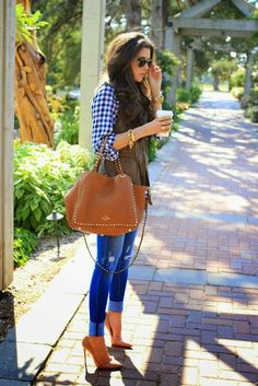 Gingham, fatigue vest, chic tan leather