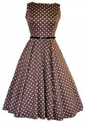 Original Mocha Polka Dot Hepburn Dress