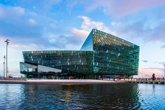 The award-winning architecture of the Harpa Concert Hall in Reykjavik, Iceland.