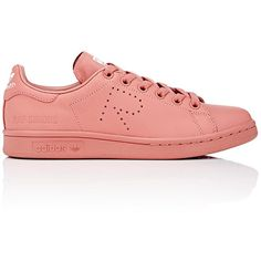 adidas x Raf Simons Women's Stan Smith Low-Top Sneakers ($400) ❤ liked on Polyvore featuring shoes, sneakers, pink, leather shoes, leather low top sneakers, perforated sneakers, adidas trainers and adidas