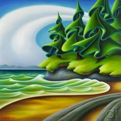 """Botanical Beach"" by Dana Irving 30 x oil on canvas Abstract Landscape, Landscape Paintings, Landscapes, Canadian Artists, Canadian Painters, Acrylic Painting For Beginners, Sewing Art, Cool Paintings, Painting Inspiration"