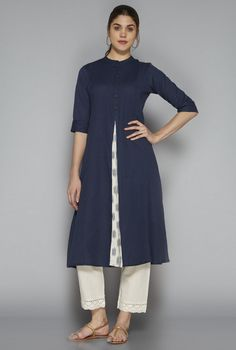 Buy Utsa by Westside Indigo Solid Kurta for Women Online @ Tata CLiQ Salwar Pattern, Kurti Patterns, Indian Formal Wear, Indian Wear, Kids Kurta, Kurta Style, Plus Size Inspiration, Kurta With Pants, Salwar Designs