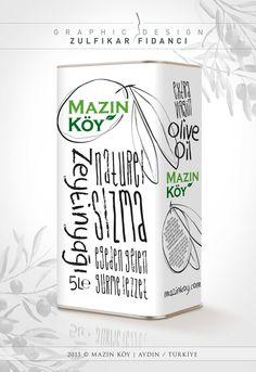 Olive oil packagin design for Mazın Köy brand. This brand in Turkey. MazınKöy markası zeytinyağı teneke ambalaj ve etiket tasarımı. Designed by Zülfikar Fidancı www.zulfikarfidanci.com Olive Oil Packaging, Bottle Packaging, Edible Oil, Olive Oil Bottles, Food Packaging Design, Olive Tree, Bottle Design, New Product, Aichi