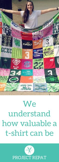 Every t-shirt quilt has a unique story to tell — what will yours say? Learn more about how you can turn t-shirts into a great conversation starter with Project Repat. https://www.projectrepat.com/?utm_source=Pinterest&utm_medium=3.6P