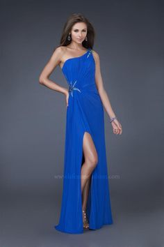 A-Lien Scoop Neckine One-Shoulder Strap with Ruffles and Split on the Skirt Floor Length Zipper Chiffon prom dress