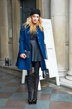 London Fashion Week - lovely little outfit down to the pearled polka dot tights and little beanie (with lovely Blue coat)