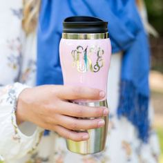 Monogrammed Stainless Travel Thermos Coffee by CHLOEANDMAYFAIR #CoffeeThermos