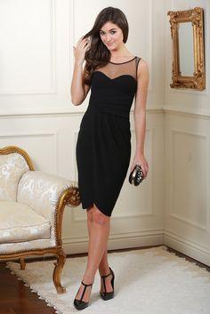 Abigail Black Side Pleated Midi Dress
