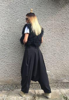 Black Women Harem Pants / Extravagant Drop Crotch by SSDfashion