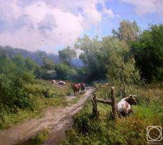 Прядко Юрий. Возвращение стада домой Ukrainian painter Pryadko Jury