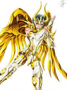 Gold Saint Capricorn Shura with Divine Cloth. Saint Seiya Soul of Gold. Artwork by Spaceweaver. Manga Anime, Anime Art, Knights Of The Zodiac, Gold Art, Ghost Rider, Anime Comics, Character Illustration, Me Me Me Anime, Manga Drawing
