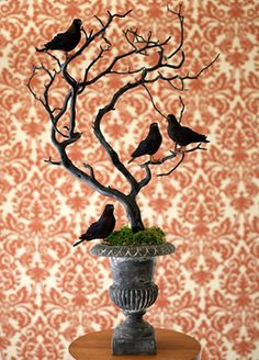 Edgar Allan Poe themed party: decor (just need twigs, figurines and black spray paint