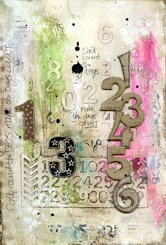 Counting art journal page by Jill Wheeler, featuring Scrap FX products:  chipboard Number Corner, Number foam stamps www.scrapfx.com.au