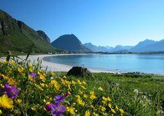Ramberg beach in Lofoten island, Norway…