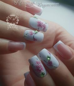 Image may contain: one or more people and closeup Cute Nails, Pretty Nails, Cherry Blossom Nails, Special Nails, Nail Effects, Floral Nail Art, Best Nail Art Designs, Bridal Nails, Nail Art Hacks