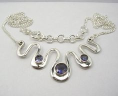 Metal : Sterling Silver Gemstone : Iolite (Genuine) Gemstone Size : 6x6 mm Round Facetted 4x4 mm Round Facetted  Necklace Length : 43.5 CM (17 1/8 Inches)  Weight : 9.3 Grams (Approx.)  Finish : High Polished Condition : New Price $USD   27.5