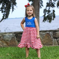 5/28/2013   Blue Knit w/Red and White Chevron Lily Dress