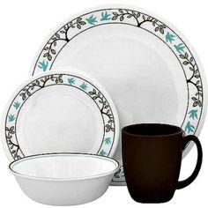 Corelle Tree Bird Dinnerware Dish Set Dinner Plate 16Pc Coffee Mug Bowl  #Corelle