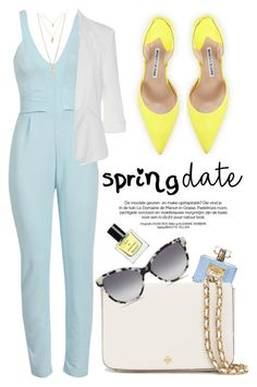 """""""Spring Date"""" by luvsassyselfie on Polyvore featuring Manolo Blahnik, Versace, Tory Burch, STELLA McCARTNEY, Miller Harris and Forever 21"""