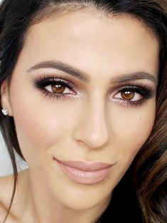 15,366 Pins.  This alluring look from beauty blogger Teni Panosian has garnered over 15,000 repins. The Kardashian-worthy nude-lip, nude-face aesthetic with smoky rose-gold shadow, peach-kissed...