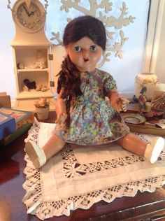 A sweet composition doll possibly French in origin. Wear and tear apply dusty dirty and faults listed. Hair not too bad a little tatty. She has an open mouth showing teeth and tongue. | eBay!
