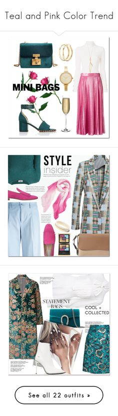 """""""Teal and Pink Color Trend"""" by yours-styling-best-friend ❤ liked on Polyvore featuring Valentino, See by Chloé, Gucci, Charlotte Russe, Michael Kors, Nude, Sonia by Sonia Rykiel, P.A.R.O.S.H., Fratelli Rossetti and DKNY"""