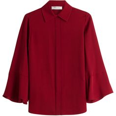 Valentino Silk Blouse (22.167.495 IDR) ❤ liked on Polyvore featuring tops, blouses, shirts, red, flare sleeve top, slim fit shirts, silk shirt, cocktail blouses and shirt blouse