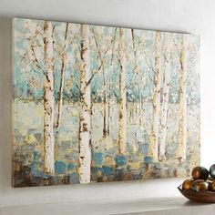 Shades of Blue Birch Tree Wall Art A grove of budding birch trees seems to signal the promise of sunnier days ahead. Hand-painted in s Birch Tree Art, Tree Wall Art, Framed Wall Art, Canvas Wall Art, Birch Trees Painting, Tree Canvas, Unique Wall Art, Paintings I Love, Tree Paintings