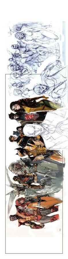 X-Men Team Gold, Blue, and W.I.P. by Peter Nguyen *