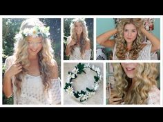 Taylor Swift Curly Hair Tutorial & DIY Flower Crown - YouTube - Hair tutorial for Homecoming!!