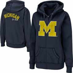 Michigan Wolverines Ladies Cozy II Full Zip Hoodie - Navy Blue. Not really mine...my granddaughter loves it